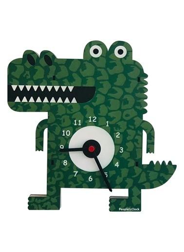 Peoples Clock Timsah Özel Tasarım Duvar Saati Renkli